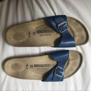 Blue Birkenstock Slides